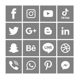 Gray Social media icons set Logo Vector Illustrator Background