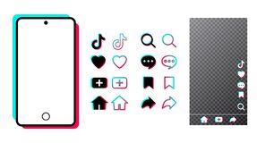 Free Tiktok Mobile Interface With Color Icon App. Social Media Frame And Chat Template On White Isolated Background. Tik Tok Royalty Free Stock Photos - 176526698
