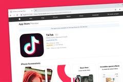 TikTok wliczając musicalu ly strony internetowej homepage Apple ogólnospołeczny medialny podaniowy iOS App Store fotografia stock