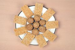 Til Gur Laddu and Til patti an Indian Sweet. An Indian sweet specially made on the occasion of kite festival known as sankranti in India Stock Images
