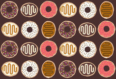 Tasty doughnut pattern. Tilable vector pattern including six yummy looking doughnuts with sprinkles and frosting royalty free illustration