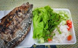 Tilapia brandwond met verse groente royalty-vrije stock foto