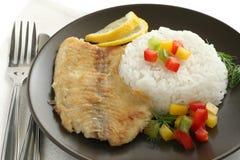 Tilapia frit avec du riz Images libres de droits