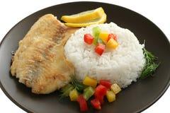 Tilapia frita con arroz Fotografía de archivo