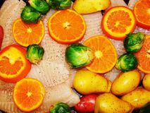 Tilapia with Oranges and Brussel Sprouts Stock Images