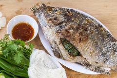 Tilapia with roasted vegetables. Thai food stock image