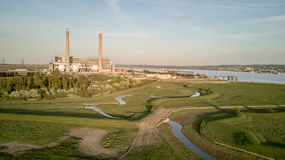 Tilbury Power Stations, Essex, UK. An aerial view of the decommissioned Tilbury A and B fossil fuel power stations located on the banks of the River Thames in Stock Photography