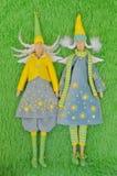 tilda 两个手工制造神仙的纺织品玩偶 库存图片