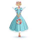 Tilda docka Trädgårds- ängelflicka i en blå klänning med en krans i händerna Vektortecknad filmtecken på en vit bakgrund Royaltyfri Fotografi