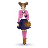 Tilda Puppe Das Mädchen in einer rosa Jacke und in einem blauen Rock mit einer Tasche in seinen Händen Vektor-Zeichentrickfilm-Fi Lizenzfreies Stockbild