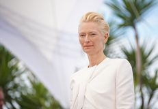 Tilda Swinton attends the photocall. CANNES, FRANCE - MAY 15, 2019: Tilda Swinton attends the photocall for `The Dead Don`t Die` during the 72nd annual Cannes stock photography