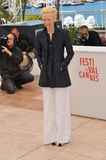 Tilda Swinton. CANNES, FRANCE - MAY 25, 2013: Tilda Swinton at photocall at the 66th Festival de Cannes for her movie Only Lovers Left Alive royalty free stock photography
