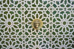 Tile arabic fountain at Old town street of Badajoz. Al-andalus decoration style, Spain Royalty Free Stock Image