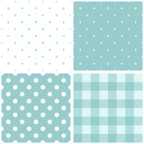 Tile baby blue and white vector pattern set. With polka dots and checkered plaid Royalty Free Stock Images