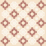 Tile Background. Suqare motifs in dark brown and beige are repeated in a fixed pattern to create a seamless wallpaper or tile stock illustration