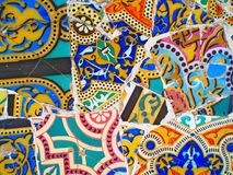 Decoration in Park Guell, tile background broken glass mosaic, royalty free stock photo