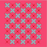 Tile background in red, blue and pink. Repeated blue and red tile pattern with a hot pink background vector illustration