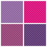 Tile vector background set with small polka dots. Sweet seamless vector pattern or tile texture set with white small polka dots on pastel, colorful pink, purple Stock Images