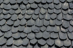 The tile black wood of roof. For background and texture stock photo