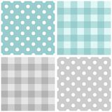 Tile vector blue and grey pattern set with polka dots and checkered plaid. Tile vector baby blue and grey pattern set with polka dots and checkered plaid for stock illustration