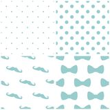 Tile blue and white vector pattern set with mustache, polka dots and bows Royalty Free Stock Photos