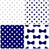 Tile blue and white vector pattern set with polka dots and bows. Tile dark blue and white vector pattern set with polka dots and bows for seamless decoration royalty free illustration