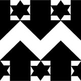 Tile with broken lines, stars and arrows. Black and white Royalty Free Stock Photography