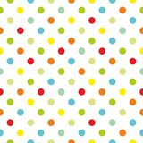 Tile colorful polka dots vector pattern with white background Stock Image