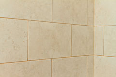 Tile corner. Bathroom tile corner with grout in shower Royalty Free Stock Photography
