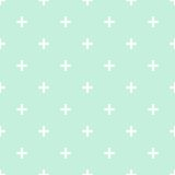 Tile cross plus mint green and white vector pattern Stock Image