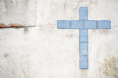 Tile cross in wall Royalty Free Stock Photo