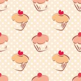 Tile vector cupcake and polka dots pattern. Seamless vector pattern or tile texture with cherry and hearts cupcakes and white polka dots on pink background. Hand royalty free illustration