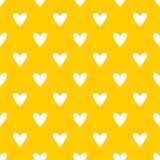 Tile cute vector pattern with white hearts on yellow background Stock Photos