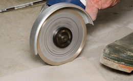 Tile cutted with a angle grinder Stock Image