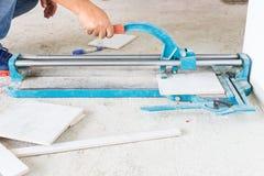 Tile cutting Stock Image