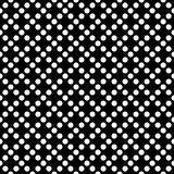 Tile dark vector pattern with white polka dots on black background Royalty Free Stock Images