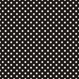 Tile dark vector pattern with white polka dots on black background Stock Image