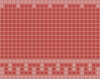 Tile decoration. Red square tiles with decor. Interior design for kitchen, bathroom, toilet. Background pattern. Decor element. Decoration and borders Royalty Free Stock Images