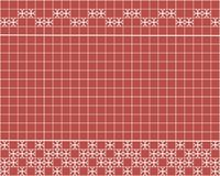Tile decoration. Red square tiles with decor. Interior design for kitchen, bathroom, toilet. Background pattern. Decor element. Decoration and borders Stock Image