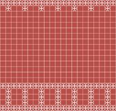 Tile decoration. Red square tiles with decor. Interior design for kitchen, bathroom, toilet. Background pattern. Decor element. Decoration and borders Stock Images
