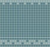 Tile decoration. Steal teal square tiles with decor. Interior design for kitchen, bathroom, toilet. Background pattern. Decor elem. Ent. Decoration and borders vector illustration