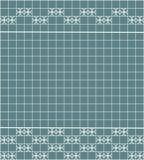 Tile decoration. Steal teal square tiles with decor. Interior design for kitchen, bathroom, toilet. Background pattern. Decor elem. Ent. Decoration and borders Stock Image