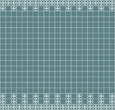 Tile decoration. Steal teal square tiles with decor. Interior design for kitchen, bathroom, toilet. Background pattern. Decor elem. Ent. Decoration and borders Stock Images