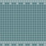 Tile decoration. Steal teal square tiles with decor. Interior design for kitchen, bathroom, toilet. Background pattern. Decor elem. Ent. Decoration and borders Stock Photo