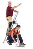 Tile fitters at work. On a project royalty free stock image