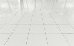Tile Floor Background. White tile floor clean condition with geometric line for background Stock Image