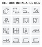 Tile floor icon. Tile floor installation and material vector icon set Stock Photo