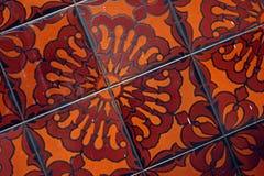Tile Flower. Flower pattern in hand painted ceramic tile Royalty Free Stock Photo