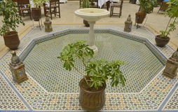 Tile fountain in Patio. Patio in a hotel located in Tangier, Morocco Stock Photography