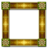 Tile frame with inlay. Beautiful Italian-style frame with tiled corners featuring architectural elements & inlayed moldings vector illustration